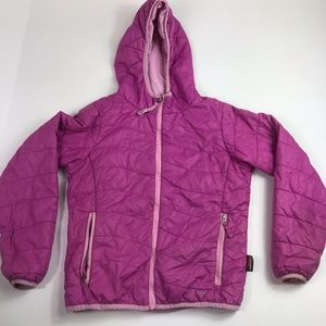 LL bean jacket wind rain pink puffy hooded girls 8